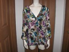 ADORABLE EAST 5TH TOP SIZE X-LARGE PURPLE FANTA FLORAL POLYESTER