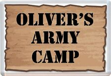 Personalised Army Camp Theme Childs Bedroom Door Plaque Sign D17