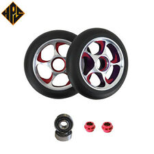 NEW 2X STORM PRO STUNT SCOOTER RED METAL CORE WHEELS 100mm ABEC 11 BEARING 9