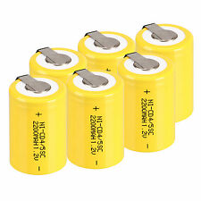 New 6pcs NiCd 4/5 SubC Sub C 1.2V 2200mAh Ni-Cd Rechargeable Battery With Tab