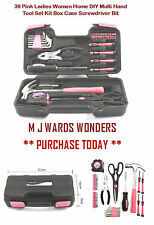 39 Pink Ladies Women Home DIY Multi Hand Tool Set Kit Box Case Screwdriver Bit