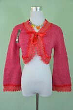 New Ladies Knit Victorian Ruff Tie Lace Crop Bolero Shrug Cardigan One Size W79