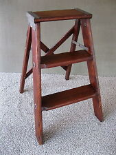 Vintage 3-Steps Stool Stepstool Ladder Primitive Stand Folding Pine Wood