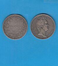 5 FRANCS Argent Louis-Philippe sans le I  1830 Paris Tranche en relief