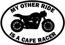 "RIDE CAFE RACER MOTORCYCLE Vinyl Decal Sticker-6"" Wide White Color"