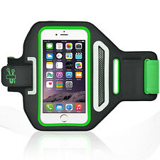 "iPhone 6/6S Plus 5.5"" Green Lycra Armband Running Reflective CreditCard Holder"