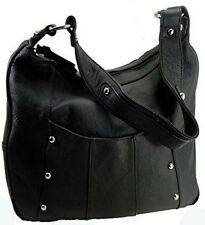 Leather Handbag LOCKING Concealed Carry CCW Purse Gun Purse BLACK R & L 7006
