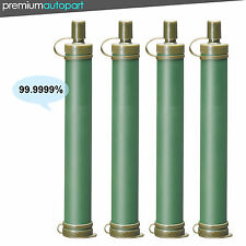 4 Military Green Water Filter Purification Emergency Life Straw Gear Survival