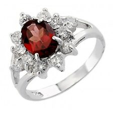 Sterling Silver Garnet Ring with CZ Size 8