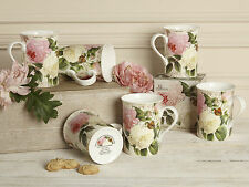 Set of 6 ROSE GARDEN Fine Bone China MUGS In Gift Boxes