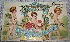 Vintage Cupids in Carriage Forget-me-Nots Valentine's Day Embossed Postcard