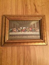 Vintage Last Supper Leonardo da Vinci Wood Framed Picture 3 X 5