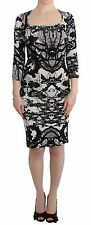NWT $550 JUST CAVALLI Printed Sheath Dress Wiggle Pencil 3/4 Sleeve IT44/US10