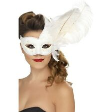 Womens Ornate Columbina Eye Mask White with Feather Fancy Dress Masquerade Ball