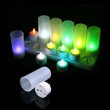 US Plug 12PCS Flickering Rechargeable Tea Lights LED Candles Lamp with Holders