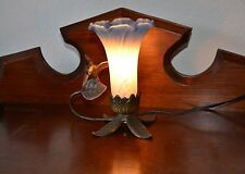 Art Deco Style Table Desk Lamp Frosted Blue Art Glass Shade