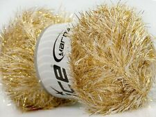 100 Gram EYELASH DAZZLE YARN - CREAM GOLD #42668 Ice Metallic Fun Fur 153 yds