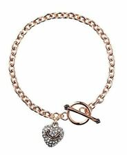 NWT Juicy Couture Pave Puffed Heart Bracelet Rose Gold Charm New In Gift Box