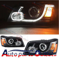 Pair LED DRL Projector Headlights For 2001-07 Toyota Highlander Land Rover Type