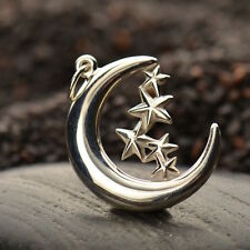 925 Sterling Silver Crescent Moon Stars Celestial Pendant Charm for Necklace