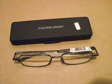 New Foster Grant Gavin Gun Flat Folding Reading Glasses +1.25 Free Shipping!