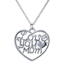 Love you Mom Christmas Mum Gift Silver Plated Pendent Necklace Jewelry Charm New