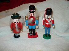 """3- Wood  Nutcracker Christmas Ornaments Blue/ Red/ Grey Variety Detailed  3""""-5"""""""