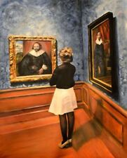 NEW ORIGINAL ESCHA VAN DEN BOGERD Watching Old Dutch Masters Hague OIL PAINTING