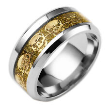 8MM Men Fashion Stainless Steel Punk Rock Skull Gold Band Ring Size 9