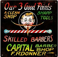 Capital Barber Shop Three Good Points rusted metal sign (pst 1212)