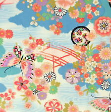 [Precut] 48x55cm Blue Romantic Japanese Bridge Floral Cotton Fabric  - PC634