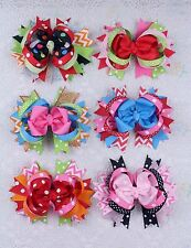 "6 Boutique Girl baby 5"" solid polka big Hair Bows Grosgrain Ribbon clip 20LV35"