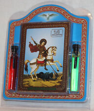 ORTHODOX Set ICON of St. George and the dragon and consecrated oil