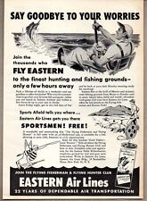 1950 Print Ad Eastern Air Lines Man Deep Sea Fishing