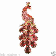 "Art Deco 3.78"" Chic Peacock Bird Pin Brooch Red Austrian Crystal Drop Peafowl"