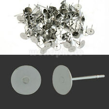 50 Pares de Pendientes Aretes con Base Redondo Acero Inoxidable Color Plata