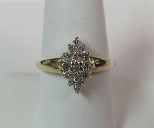 Gorgeous 14KT Yellow Gold .33CT Diamond Cluster Ring Size 8.5 Wholesale R4507