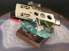 MM CARTRIDGE DIAMOND STYLUS TURNTABLE PHONO HEADSHELL SET GOLD NEW