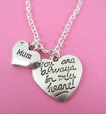 "Mum You Are Always In My Heart 2 Hearts  Pendant 18"" Necklace New in Gift Bag"