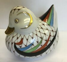 Vintage Hollohaza Hungary Hand Painted Porcelain Duck Fishnet Pattern 7cm