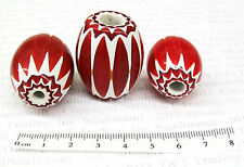 Red Chevron Trade Beads Set of 3       Lot 15