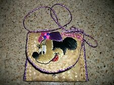 KIDS / GIRLS MINNIE MOUSE TAN BAMBOO PURSE EMBROIDERED