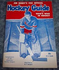 Hendy's NHL Official Hockey Guide and Who's Who in Hockey 1951 Chuck Raynar