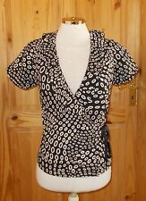 black white circles spotted wrap crossover short sleeve tunic blouse top S 8-10