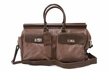 NWT$3795 Brunello Cucinelli Men's 100% Leather 2Tone Travel Bag W/Strap & ID Tag