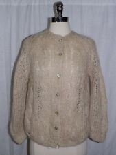 Classy Vtg 1950s Neutral Ivory Tan Hand Made Cable Knit Cardigan Sweater M Euc
