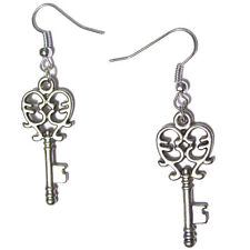 cute mini HEART KEYS - Silver Plated Dangling Hook Earrings gothic