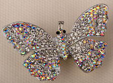 Clear crystal butterfly stretch ring scarf clip buckle charm jewelry 12 silver
