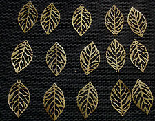 25 Veined Leaf Charms Bronze Tone Metal 24mm