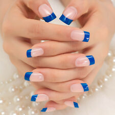 False Nails Natural 24pcs Short Full Cover for Home Office Blue